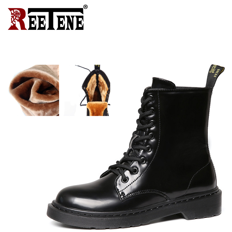 REETENE Winter Shoes Women Warm Fur Martin Boots Female Fashion Black Ankle Boots Women Lace-Up Combat Boots Ladies Shoes samool 2017 new arrival women boots lace up martin boots women ankle fur boots brand winter women shoes female high heel shoes page 9