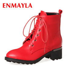 ENMAYLA New Lace-up Martin Ankle Boots for Women Med Chucky Heels Boots Women Black Red Dance Shoes Woman Short Boots hee grand lace up rain boots woman fashion med heels new shoes woman high quality casual hot sale women boots size 36 40 xwx4924