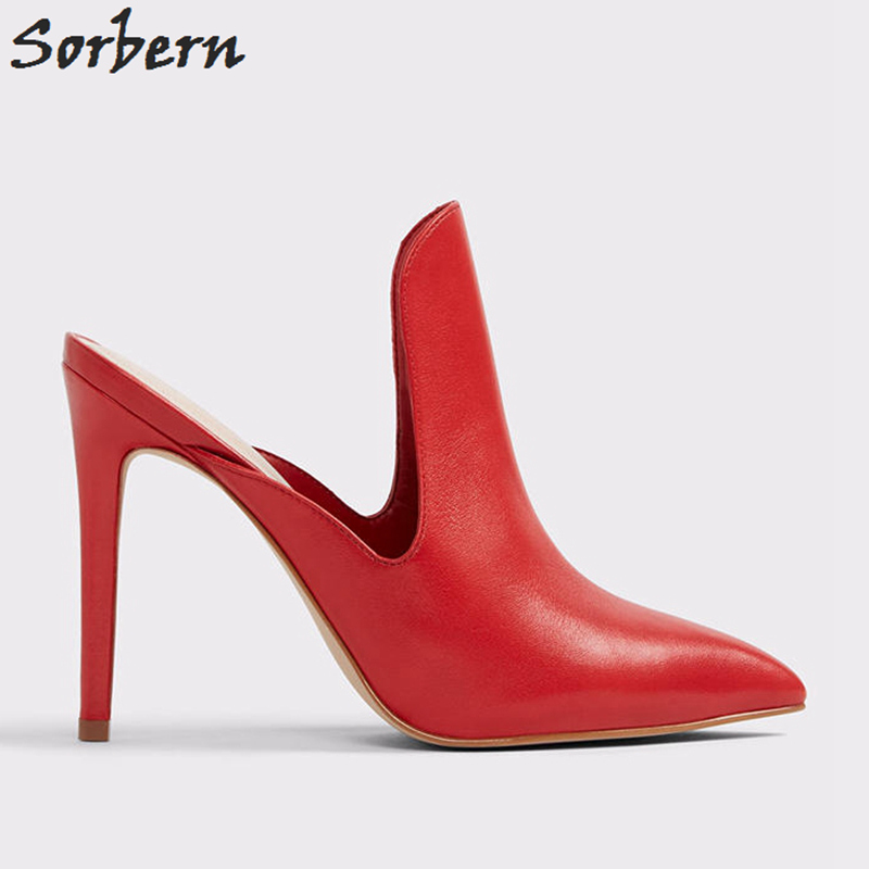 1a6f523a3b Sorbern Pointy Toe Slip On Mules High Heel Women Pump Shoes Stilettos  Custom Color Size 34-46 Female Ol Shoes Black/White Heels