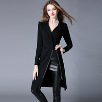 Women Long Seleeve Black Red Turn Down Collar Dress Sexy Vintage Bodycon Plus Size Maxi Office