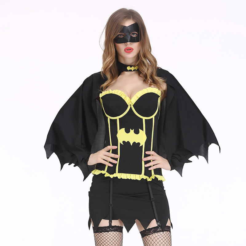 Batman Dress Sexy Costume Adult Women Halloween Costume Batgirls Sexy Superhero Costume Cosplay With Mask Cape