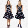 Mulheres summer dress 2017 roupas plus size boho vestidos vestidos robe floral rockabilly balanço retro ocasional do vintage