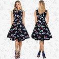 Women Summer Dress 2017 Plus Size Clothing Boho Floral Robe Retro Swing Casual Vintage Rockabilly Dresses Vestidos