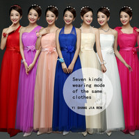 ZX568 Real Photos Wholesale 2016 New Fashion Show Banquet Toast Wedding Long Bridesmaid Dresses Cheap