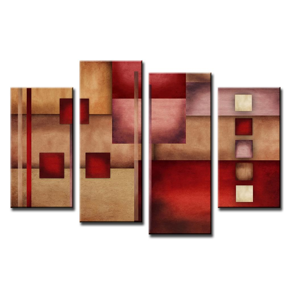 (4 Pieces) Combined Abstract Paintings Red Beige Abstract FY10 Customed Prints