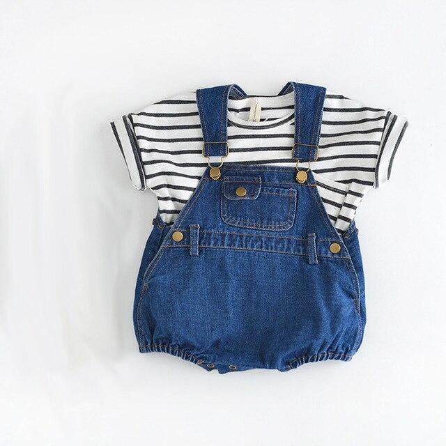One piece-roupa infantil romper do bebê meninos unisex crianças meninas denim roupas de bebê meninos romper macacões newborn novo solto macacão