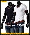 Бесплатная доставка Европейский стиль Белый/Темно-синий Тройник С Коротким рукавом slim fit V шеи футболка для мужчин QR-1195