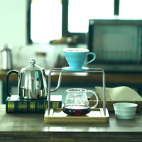 Pour Over coffee set : coffee dripper+ dripper holder+ glass server + water cup ,V60 Brewer coffee set
