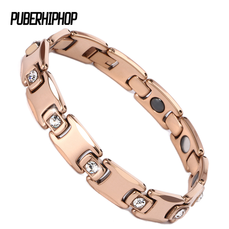 Negative Ion Ceramic Rose Gold Healthy Magnetic Bracelet With Big Crystal Bio Elements Germanium Bracelet For Women Men Jewelry