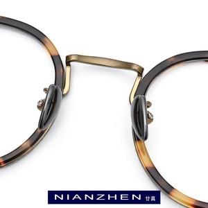 Image 2 - B Titanium Acetate Eyeglasses Frame Men High Quality Vintage Round Optical Frames Eye Glasses for Women Spectacles Eyewear 1850