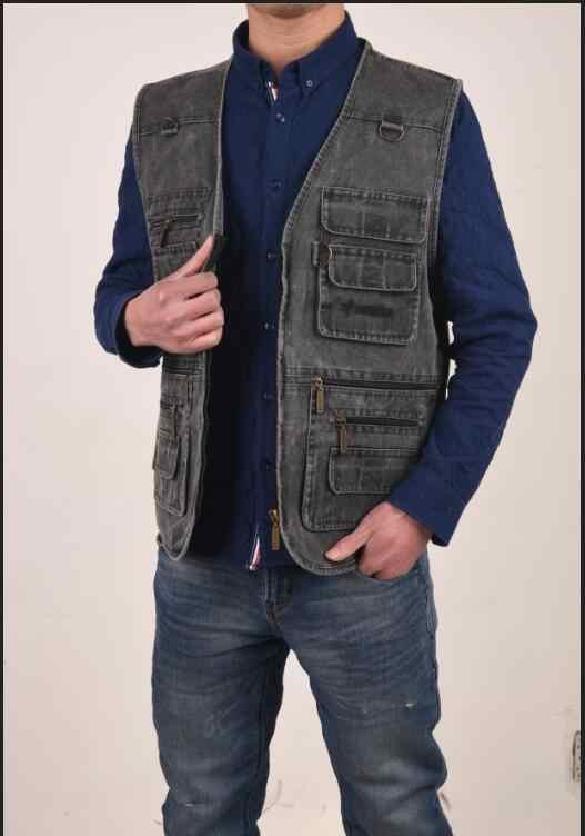 2018 デニムベスト男性のジャケットノースリーブ綿カジュアルチョッキ男性のジーンズ CoatSlim フィット男性ジャケットカウボーイポケットプラスサイズ 7XL