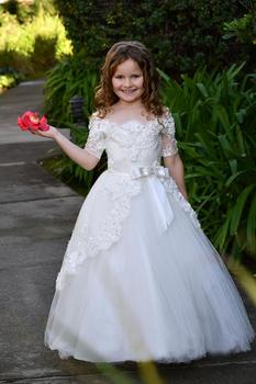 Princess Ball Gown White/Ivory Flower Girl Dresses Girls Pageant Dresses Gowns Holy First Communion Dresses with Sleeve