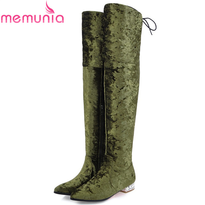 MEMUNIA big size 32-43 women boots pointed toe fashion zipper flock ladies boots square heel cross tied over the knee boots enmayer green vintage knight boots for women new big size round toe flock knee high boots square heel fashion winter motorcycle