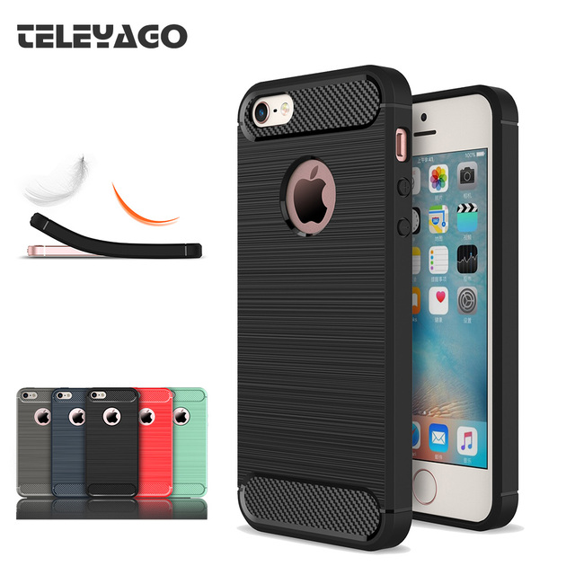 premium selection 42fb4 1a55d US $3.65 20% OFF|For Apple iPhone 5s Se 5G Case Slim Fashion Brushed Back  Armor Cover Soft Silicone TPU Rubber Mobile Phone Protective Shell Bag-in  ...