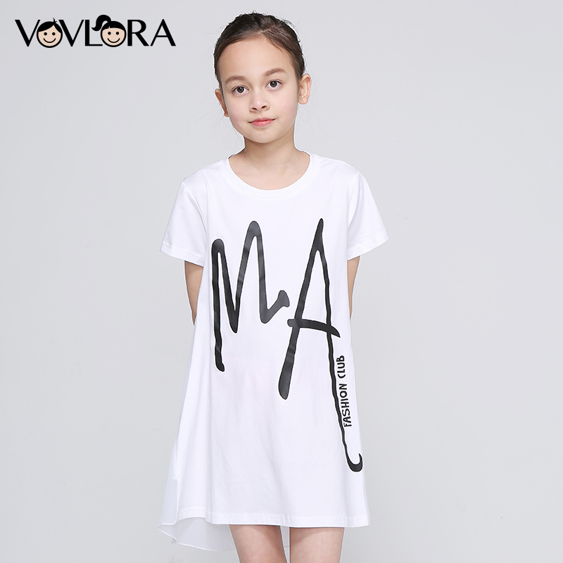 Girls T Shirt White Patchwork Chiffon Tops Print Letter Kids Cotton T-Shirt Loose O Neck Summer 2018 Size 9 10 11 12 13 14 Year