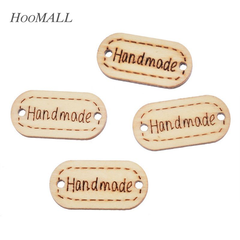 hoomall brand 175x35mm 30pcs natural wooden buttons handmade letter decorative sewing buttons oval scrapbooking crafts
