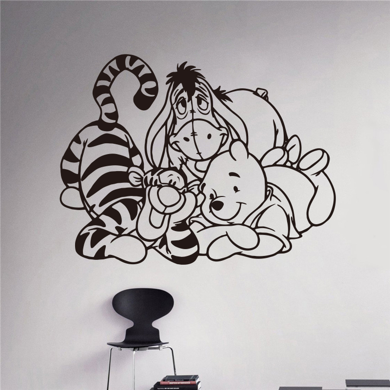 winnie pooh piglet tigger wandtattoo kinder art design abnehmbarer wasserdicht abnehmbare. Black Bedroom Furniture Sets. Home Design Ideas