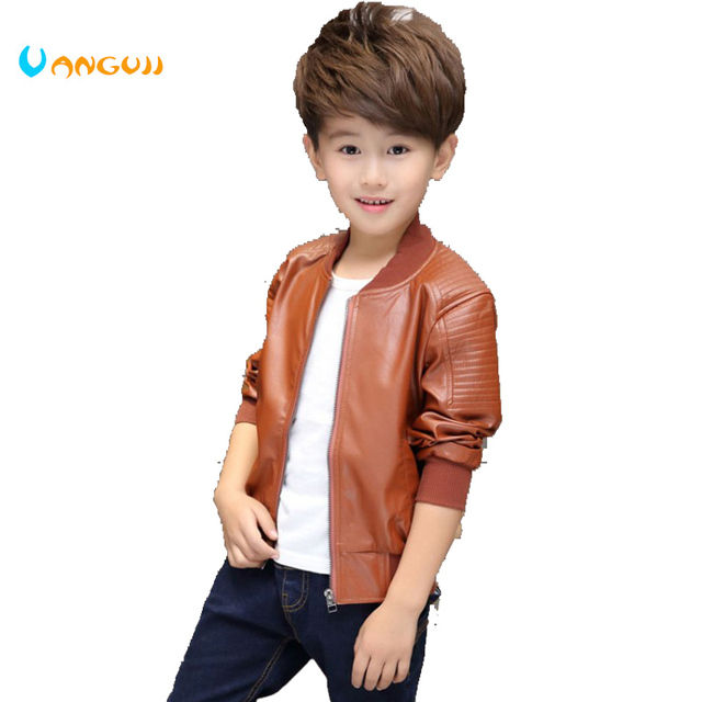 7f580fceb Winter hot fashion brand Pu in children 2-15 years old Boy T-Shirt jacket  quilted leather coat color all-match locomotive