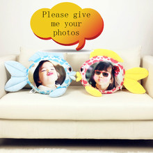 Kissing photo custom fish hold pillow humanoid cushion Christmas decorations  diy gift Doll Birthday Valentines Day Gift