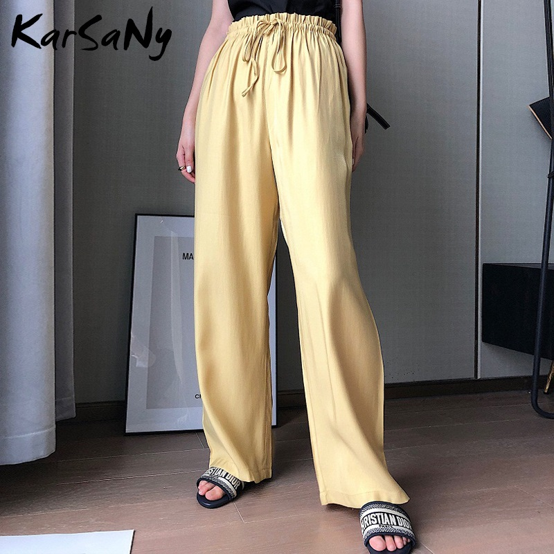 KarSaNy Women's Lace Up   Wide     Leg     Pants   High Waist Korean Casual Pink Summer   Pants   For Women   Wide     Leg   White Trousers 2019 Autumn