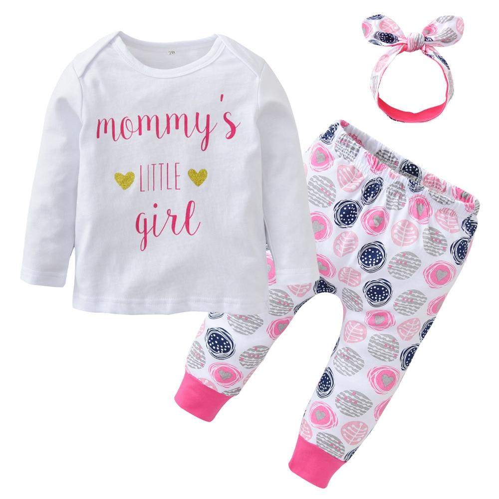 2018 New Fashion Kleinkind Baby Mädchen Kleidung Baumwolle Langarm Brief Mama T-shirt + Pants + Stirnband Neugeborenen Kleidung