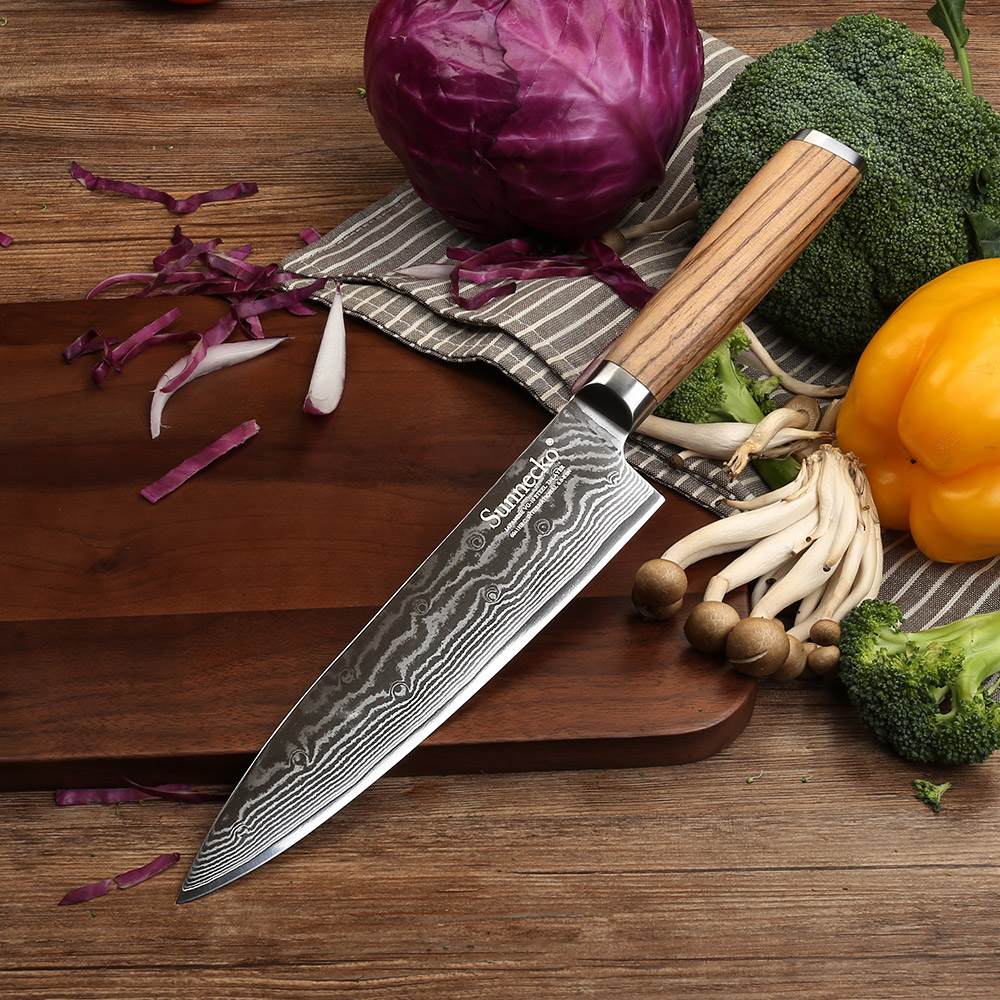 """SUNNECKO 8"""" Chef Knife 73 Layers Damascus Steel Sharp Blade Original Wood Handle Japanese VG10 Core Kitchen Knives Meat Cutter"""