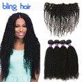 Bling Волосы Фронтальной Закрытия Перуанских Девы Вьющиеся Волосы Курчавые 4 Пучки 7А Афро Странный Вьющиеся Волосы Расслоения С Фронтальной закрытие