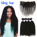 Bling Hair With Frontal Closure Peruvian Virgin Kinky Curly Hair 4 Bundles 7A Afro Kinky Curly Hair Bundles With Frontal Closure