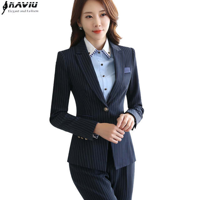 21cb4ca154e placeholder Professional women stripes skirt suits set 2018 Fashion  Interview Office Lady long sleeve blazer with Skirt