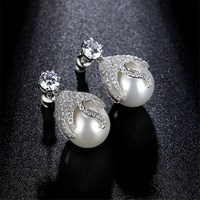 Great Design AAA Cubic Zirconia Cute Shell Pearl Stud Earrings Wedding Jewelry For Women Party Jewelry