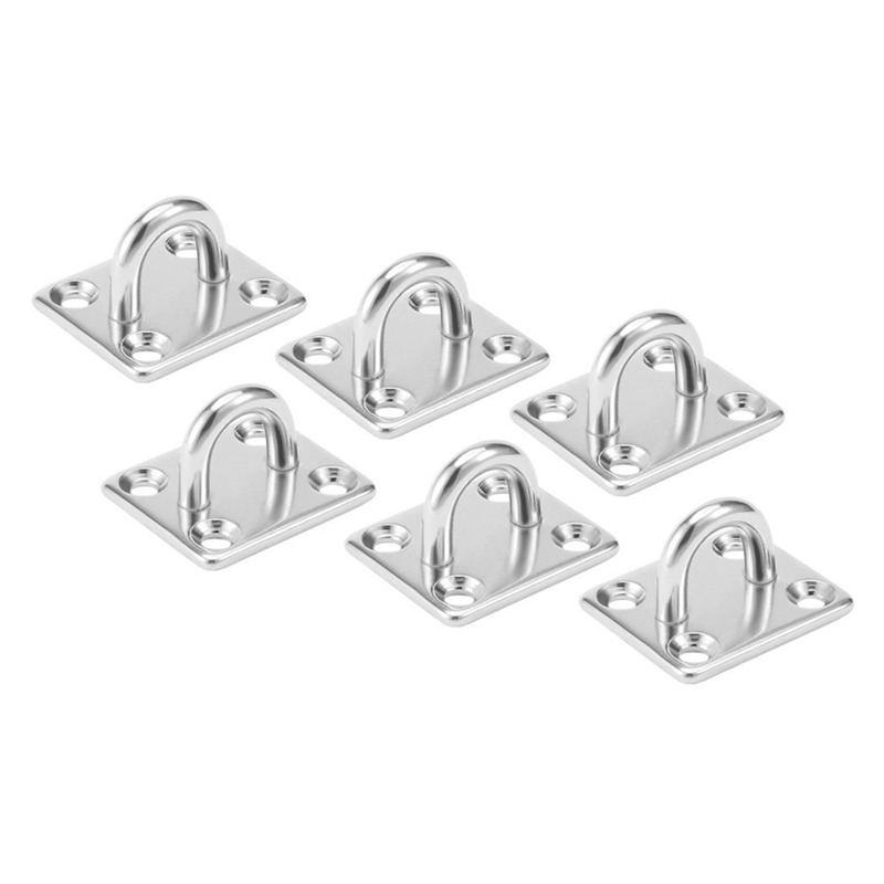 EASY-304 Stainless Steel 5mm Thick Ring Square Sail Shade Pad Eye Plate Boat Rigging 6pcs