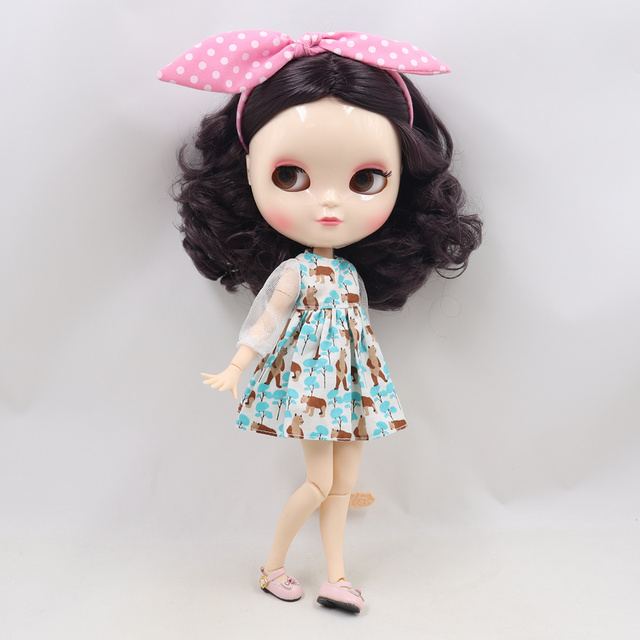 ICY Fortune Days factory doll azone joint body 30cm white skin Elegant purple short curly hair DIY sd gift toy