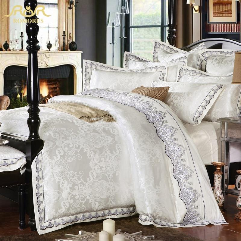 ROMORUS 4 6 pcs White Satin Jacquard Silk Luxury Bedding Set King Queen Size 100 Cotton