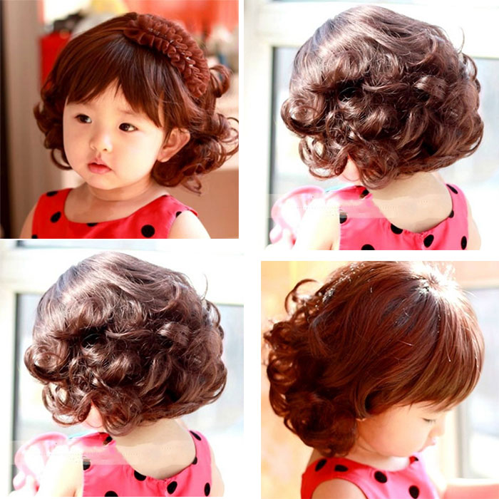 2016 Beautiful Baby Girl Oblique Bangs Short Curly Hair Wig Lovely