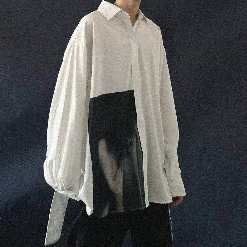 Oversized Men Shirts Coat 2018 Mens Long Sleeve Retro White Shirts Male Korean High Quality Jackets Casual High Street Shirt Men