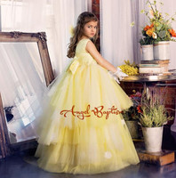 Luxury yellow tulle tutu flower girl dresses deep V Pearls flowers tiered baby girl party dress gown for communion with bow