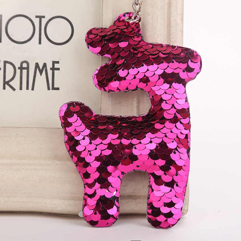 Милый блестящий брелок в виде оленя модная Русалка Блестки животных Олень брелки для ключей для женщин автомобильный мешок кулон ювелирные изделия LP03