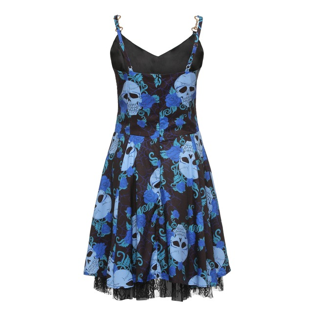 Rosetic Gothic Lace Dress Women Skull Print Sexy Summer Black See Through Mini Dress Female Backless Blue Goth Party Dresses 1