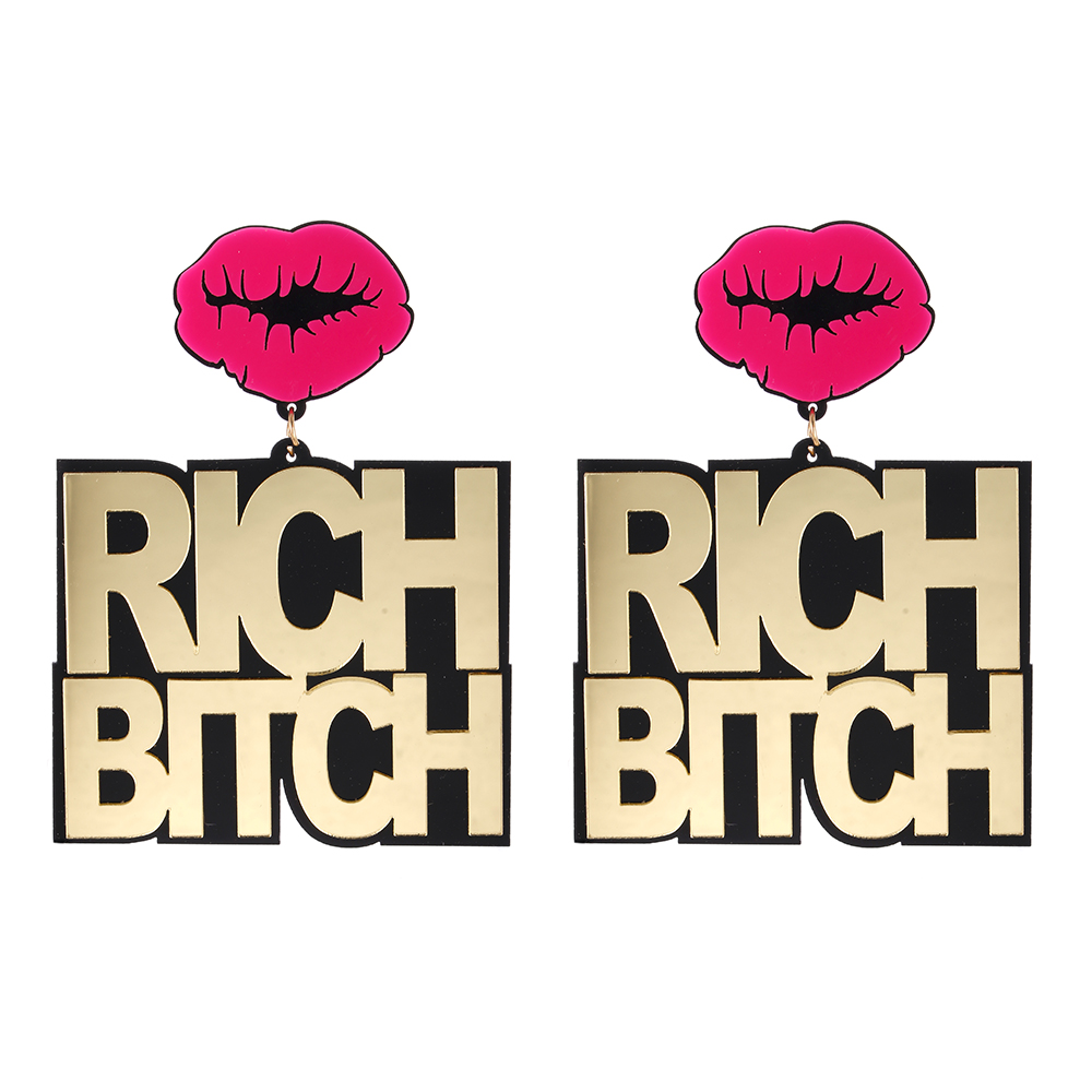 Fishsheep Big-Pendant-Earrings Jewelry Oversized Bitch-Letter Acrylic Hiphop Gold RICH