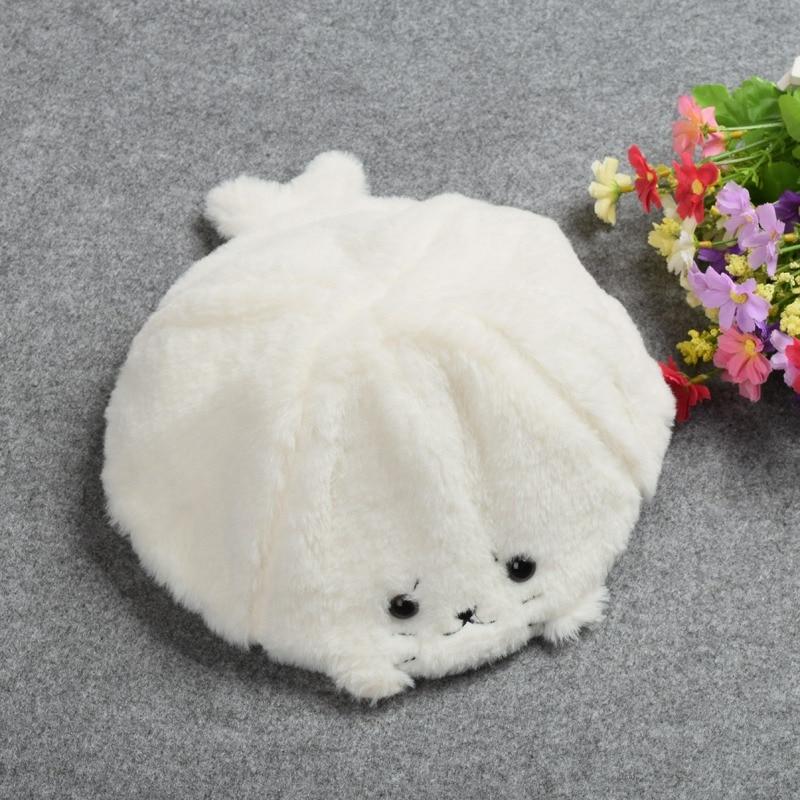 1pc Girls Cute White Soft Seal Pattern Plush Hat Cartoon Cap Winter Gifts soft plush big feet pattern winter slippers