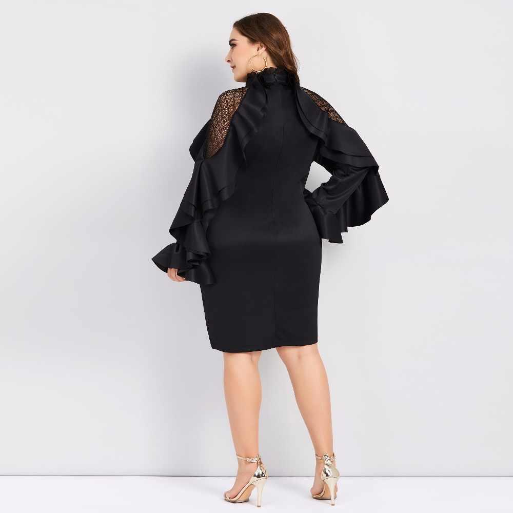 3b5b6b6f7cd0 ... Plusee 2018 plus size 4XL women bodycon dress elegant long sleeve  Falbala ruffles black large size ...