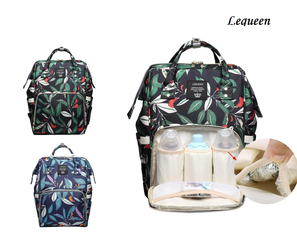 Lequeen fresh Leaf Mummy Maternity Napyy Bag Fashion Mummy Maternity Diaper Bags Leaves Print Large Capacity Mother Baby Diaper свитшот print bar minion mummy