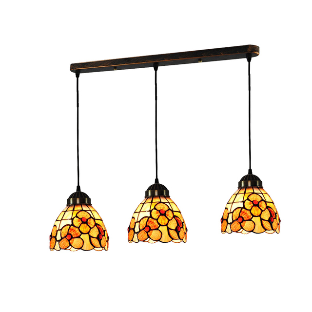 Tiffany Style Flowers Pattern Pendant Light Mediterranean Stained Glass E26 E27 Multi Color Hanging