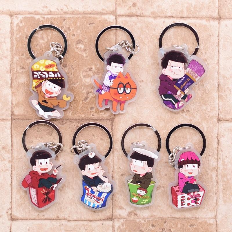 2019 Osomatsu-san Keychain Double Sided Key Chain Acrylic Pendant Anime Accessories Cartoon Key Ring