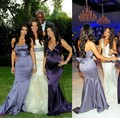 Floor Length Long satin gray chole kardashian Bridesmaid Dress Coral Colored Dress To Party Over Maid Of Honor Prom Dresses 2015