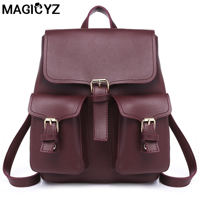 2018 Vintage PU Leather Backpack Design Womens New With Purse Pocket Casual Back Pack Te ...