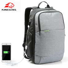 Kingsons Men backpack girls backpack External USB Charge Laptop Backpack Anti-theft Notebook Computer Bag 15.6 inch Business