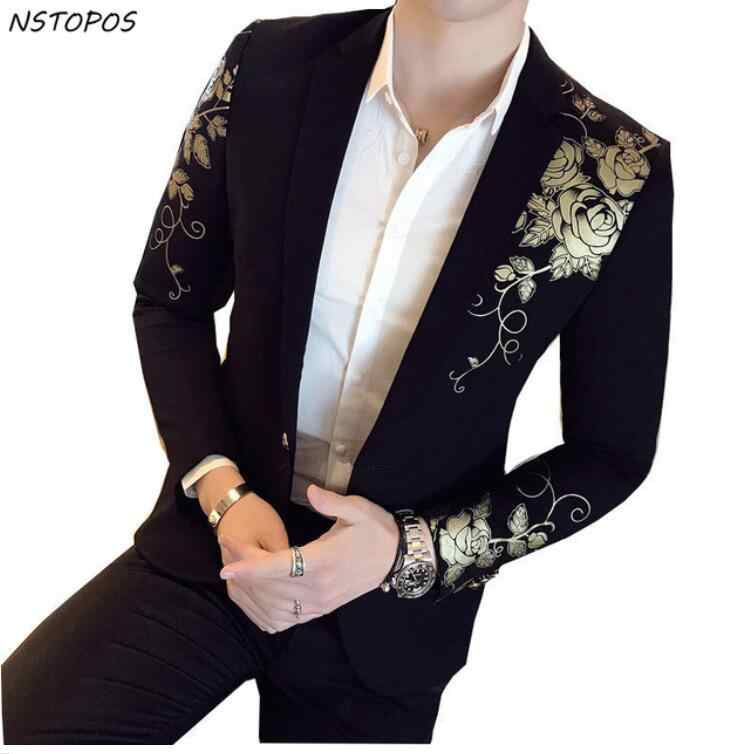 CH.KWOK Gold Black Jackets Flower Floral Print Party Wedding Festival Suits Blazers Men Stage Costumes For Singers Slim Blazers
