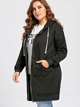 Big Size Casual Zipper Basic Jacket Winter Oversized Long Drawstring Hooded Coat With Pockets Plus Size XL-5XL
