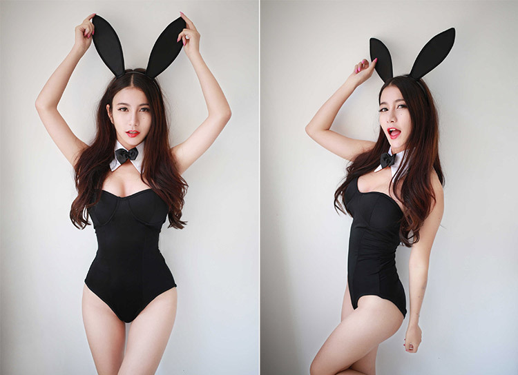 Strange nude girl in bunny suit confirm